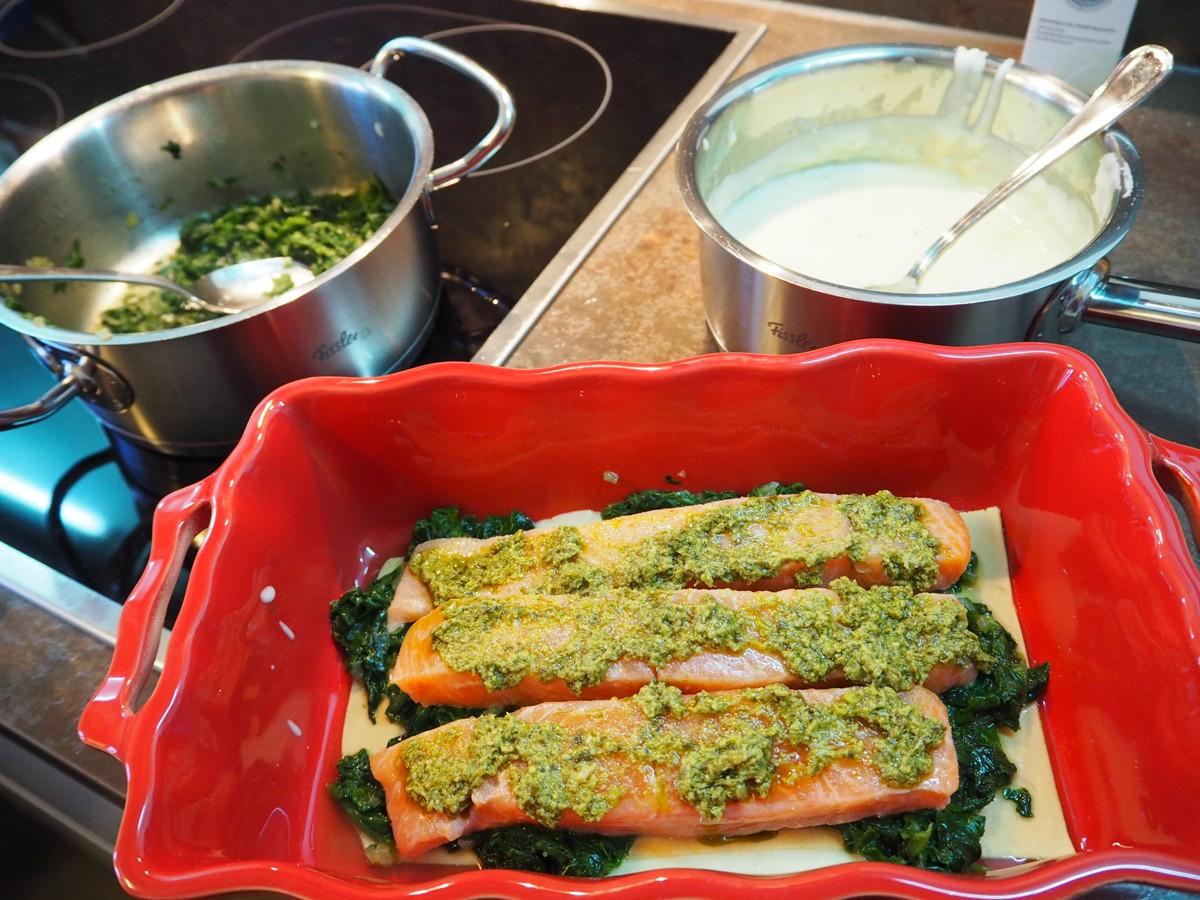 lachs spinat lasagne mit garnelen cucina christina. Black Bedroom Furniture Sets. Home Design Ideas